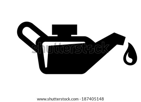 vector black engine oil icon on white background - stock vector