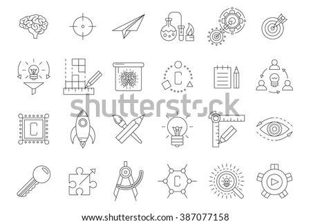 Vector black engineering icons set on white