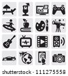 vector black entertainment icons set on gray - stock vector