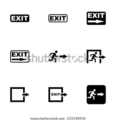 Vector black exit icon set on white background - stock vector