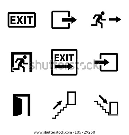 Vector black exit icons set on white background - stock vector