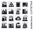 vector black factory icons set on gray - stock vector