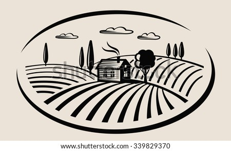 vector black farm and field on beige background - stock vector