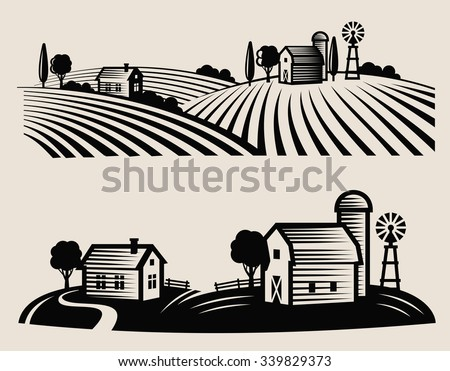 vector black farm and field on beige background