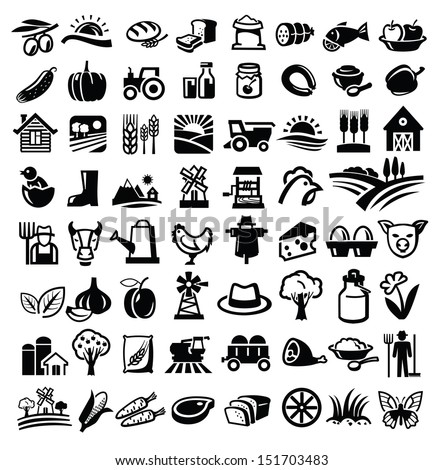 vector black farm icon set on white