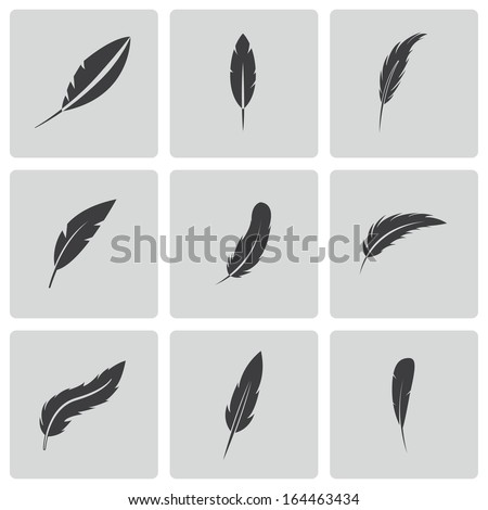 Vector black feather icons set - stock vector
