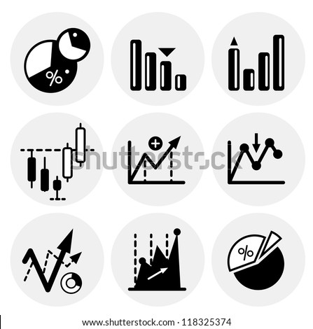 Vector black financial statistics icons. Icon set - stock vector