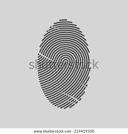 Vector black fingerprint. Isolated on gray background. Vector illustration. - stock vector