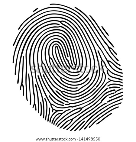 Vector black fingerprint on white background - stock vector