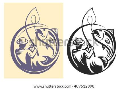 vector black fisherman icon on white background - stock vector