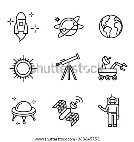 vector black flat astronomy icons on white