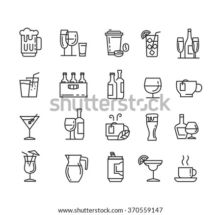 vector black flat beverages icons on white