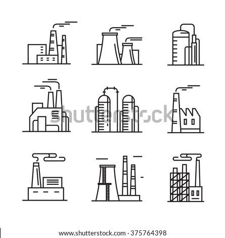 vector black flat factory icons on white - stock vector