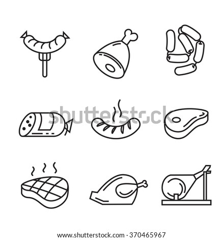 vector black flat food icons on white