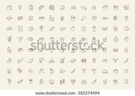 vector black food and meal icons set - stock vector