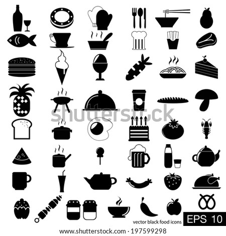 vector black food icons - stock vector