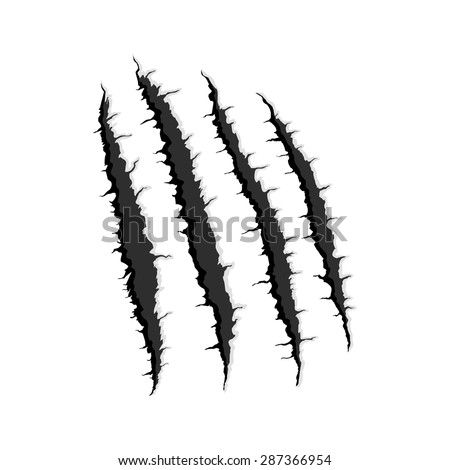 Vector black four vertical trace of monster claw, hand scratch ,rip through,break through  with shadow and light isolated on white background - stock vector