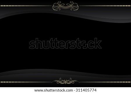 vector black frame with golden pattern ornate - stock vector