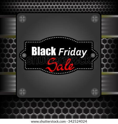 Vector Black Friday Label on Grey Metal Perforated Background - stock vector