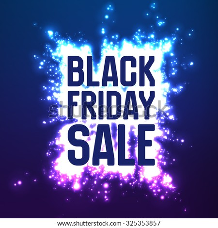Vector Black Friday Sale background with shining blast of fireworks. Vector illustration on violet background. Abstract explosion of shining dots.