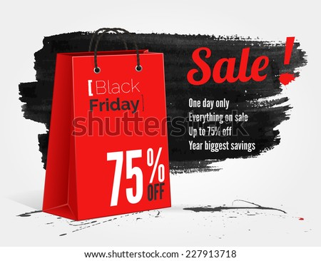 vector Black Friday watercolor banner with splashes of ink and shoppping bag - stock vector