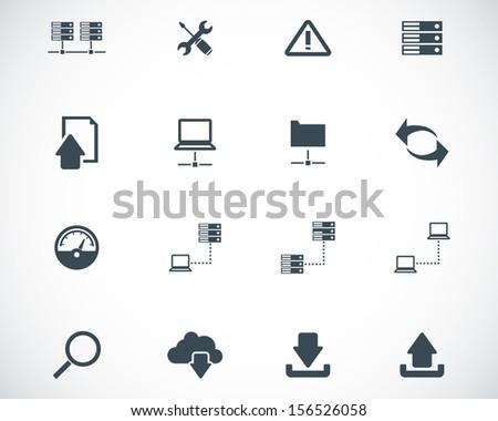 Vector black FTP icon set - stock vector