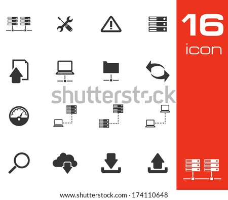 Vector black FTP icon set on white background - stock vector