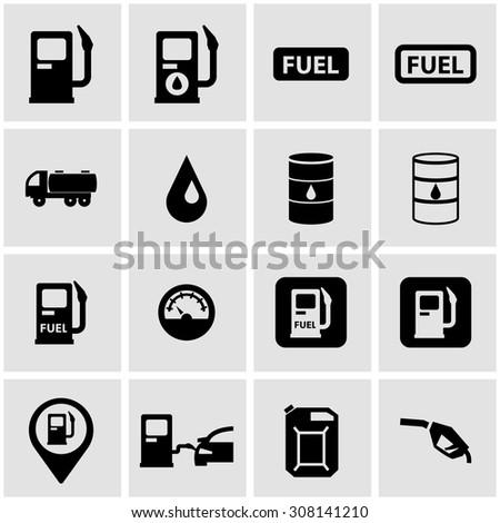 Vector black gas station icon set - stock vector