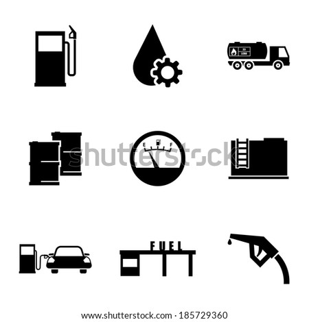 Vector black gas station icons set on white background - stock vector