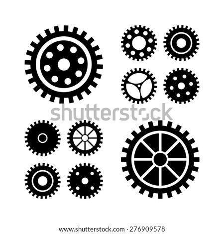 Vector black gears icons set. collection machine gear.