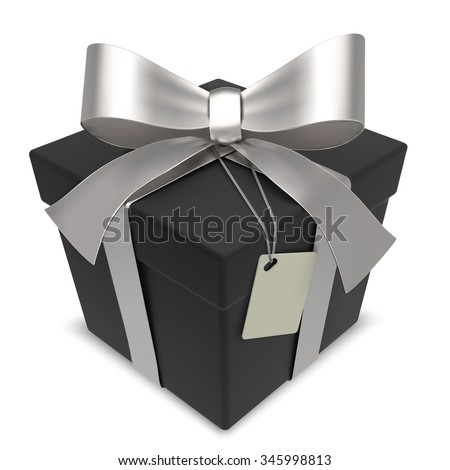 Vector Black Gift Box. Matte Black Gift Box with Silver Ribbons. Blank Label for Copy Space.