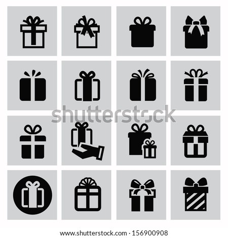 Vector black gift icon set on 135277112 vector black gift icon set on gray negle