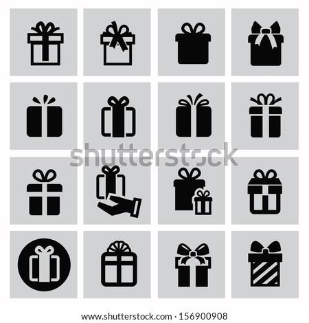 vector black gift icon set on gray - stock vector
