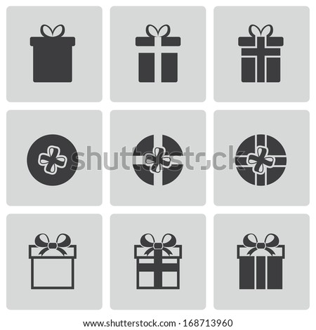 Vector black gift icons set on white background - stock vector