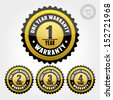 Vector : Black Gold Warranty Badge and Sign with one, two, three, four years warranty - banner, sticker, tag, icon, stamp, label - stock photo