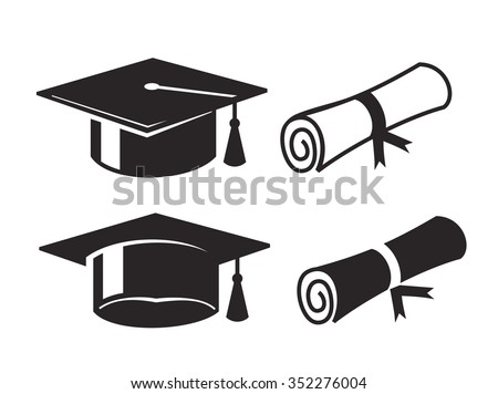 vector black graduation cap and diploma on white background - stock vector