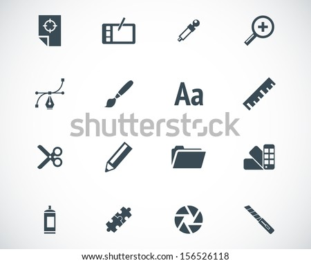 Vector black  graphic design  icons set - stock vector