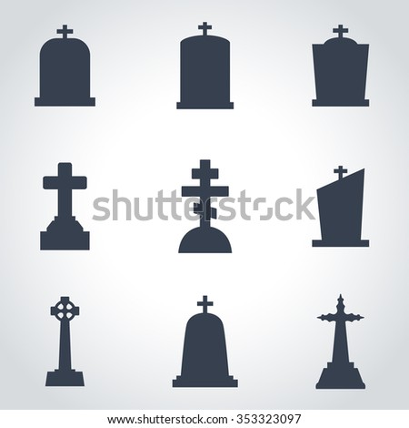 Vector black gravestone icon set.