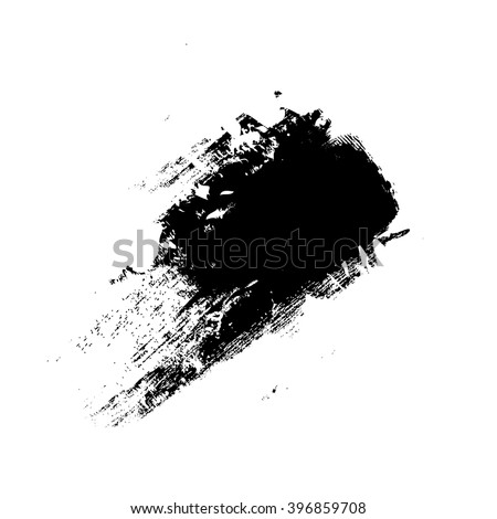vector black grunge brush strokes ink paint isolated on white background - stock vector