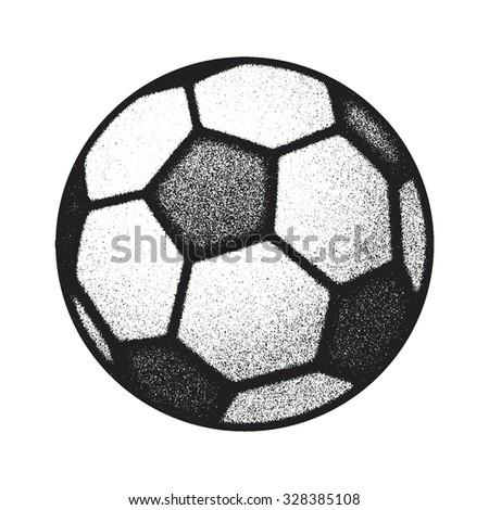 vector black grunge soccer ball on white. vector illustration - stock vector