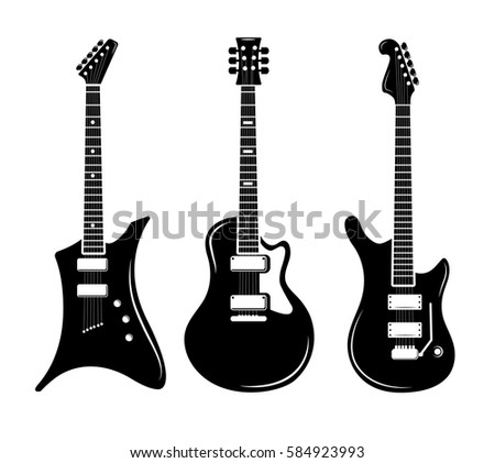 Vector black guitar icons acoustic and electric guitars