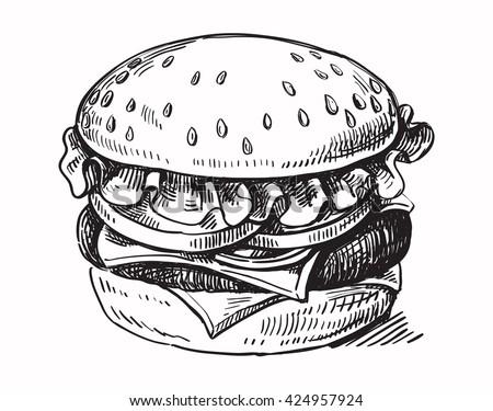 vector black hand drawn hamburger on white background - stock vector