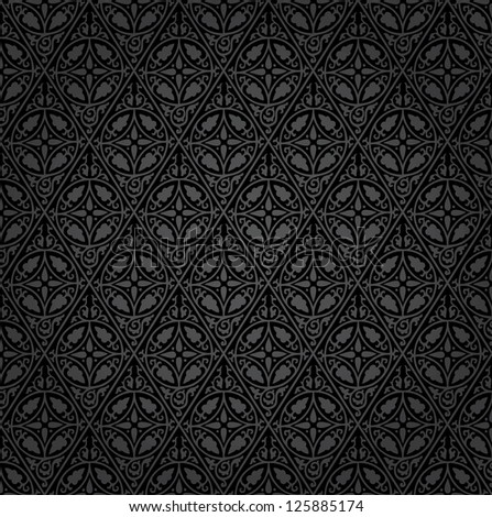 vector black hand drawn seamless repeating floral wallpaper - stock vector
