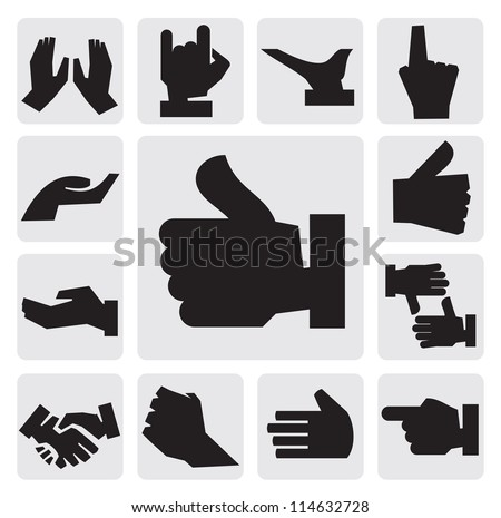 vector black hands icon set on gray - stock vector