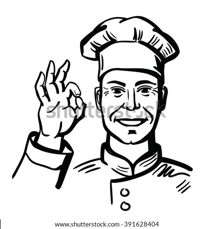 vector black happy chef on white background - stock vector