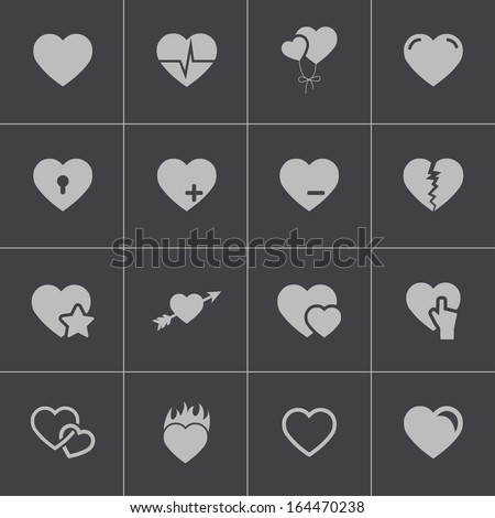 Vector black hearts icons set - stock vector