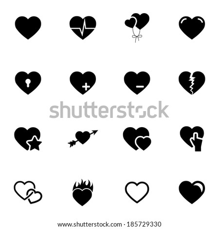 Vector black hearts icons set on white background - stock vector