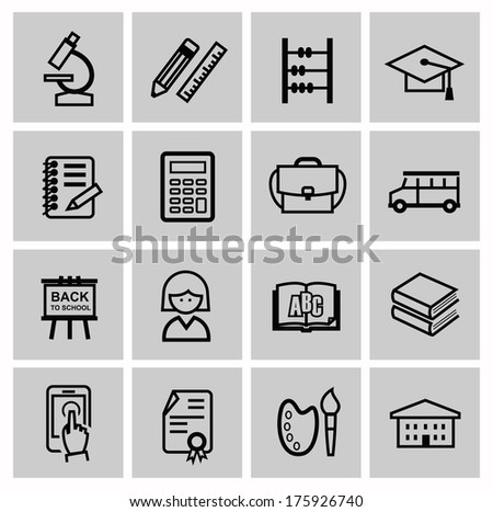 vector black higher education icons - stock vector