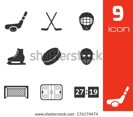 Vector black hockey icons set on white background - stock vector