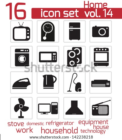 Vector black home appliances icon set - stock vector